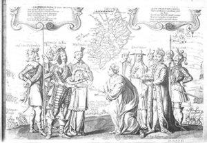Pacto de Perone de 23 de enero de 1641. Cataluña rinde vasallaje a Francia. Pau Claris y Tamarit i Quintana