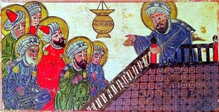 Ilustración de Mahoma predicando