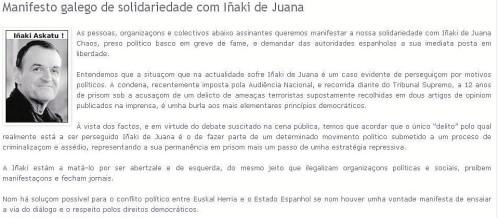 El líder de Podemos-Galicia firmó un manifiesto de apoyo al etarra De Juana
