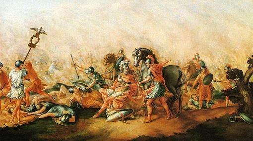 Cuadro que representa la muerte de Lucio Emilio Paulo en la batalla de Cannas