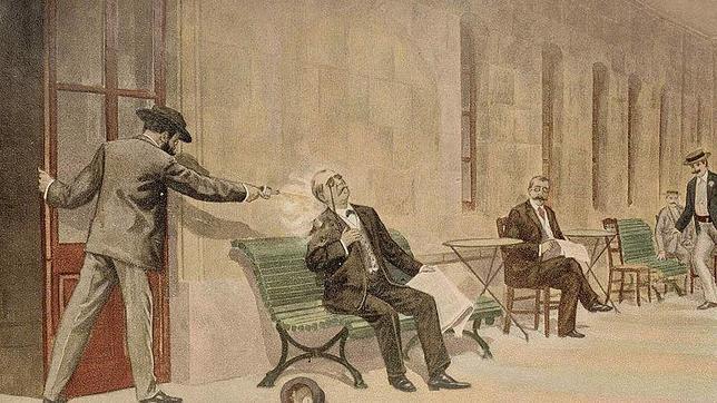Ilustración del asesinato de Cánovas en un libro de Francisco Pi y Margall.