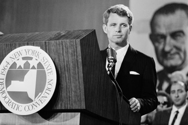 US Secretary of Defense Robert Kennedy gives a speech on September 2, 1964