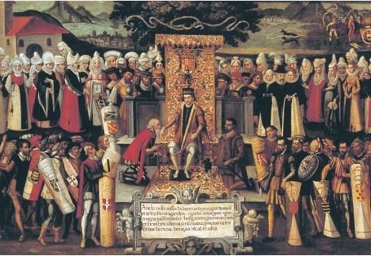 """""""Jura de los Fueros del Señorío de Vizcaya por Fernando el Católico en 1476"""", de Vazquez de Mendieta, 1609"""