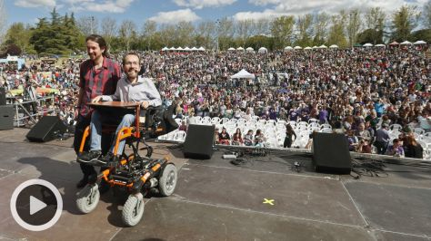 Pablo Iglesias y Pablo Echenique en Madrid.