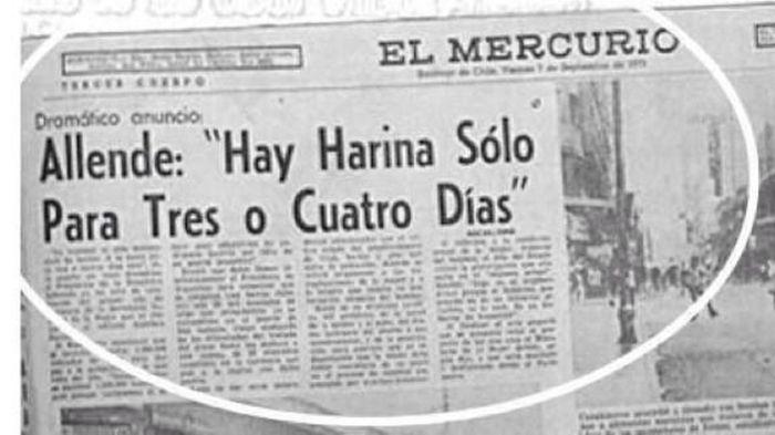 Recorte del diario El Mercurio del 7 de septiembre con las palabras de Allende.