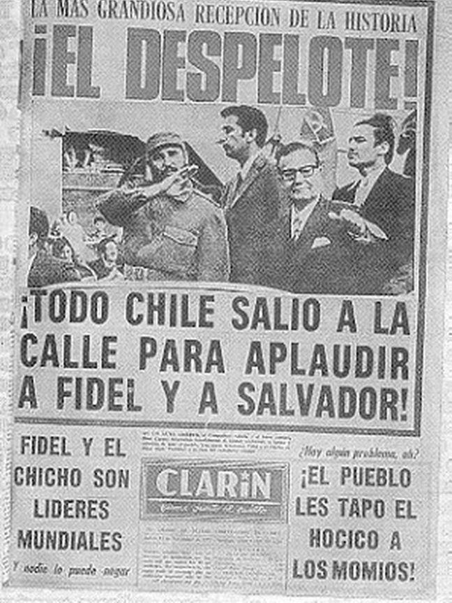Portada del diario Clarín a propósito de la visita de Castro a Chile.