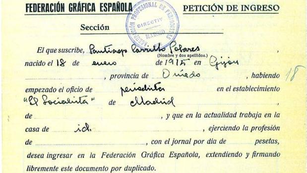 Petición de ingreso de Santiago Carrillo en la Federación Gráfica Española