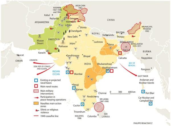 La situación geoestratégica de India hace que su diferendo con Pakistán sea sólo uno de sus frentes. Fuente: Philippe Rekacewicz