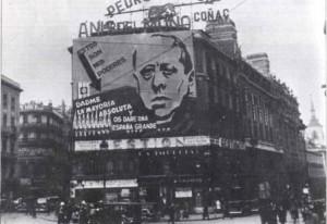 Gil Robles en un cartel propagandístico: Puerta del Sol, febrero-1936