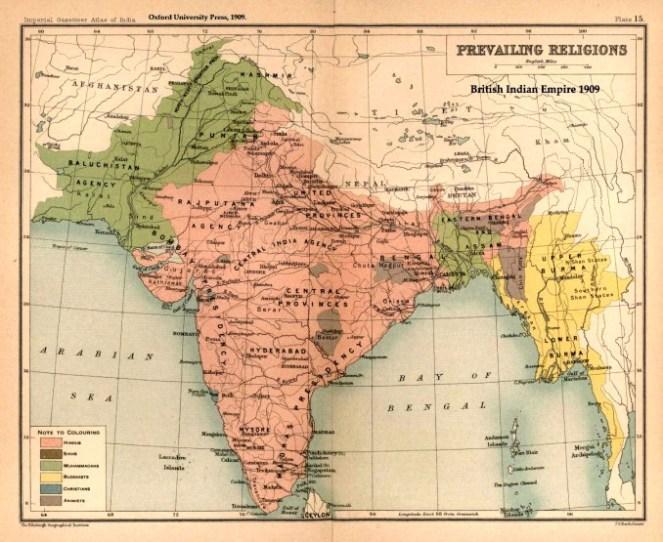 Así era el Imperio Indio Británico religiosamente hablando en 1909. Fuente: Wikipedia