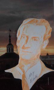 """John """" Tex"""" Elliott , corresponsal del """"New York Herald Tribune"""". Al fondo, una evocación de su visita a Badajoz"""