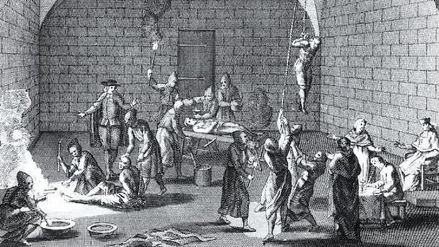 Lámina de torturas «inventadas por Bernard Picart en el siglo XVII», según escribe García del Junco en su libro