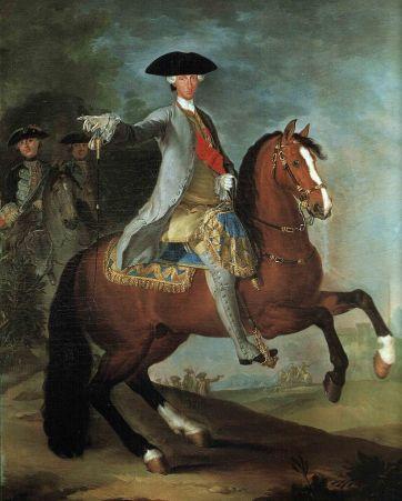 Carlos III de Borbón a caballo, retrato de Francesco Liani