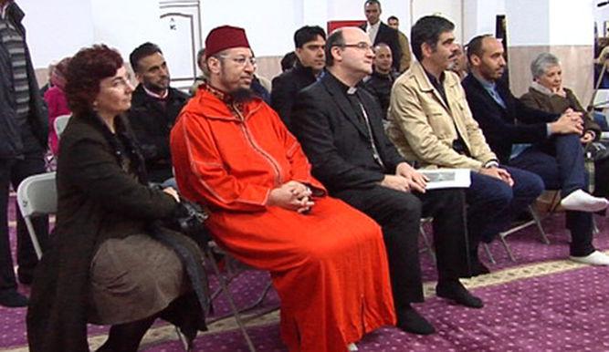 Badaj Hijra, el obispo Ignacio Munilla, el acalde Eneko Goia y Rachid Boutarbouch en la inauguración de la mezquita donostiarra.