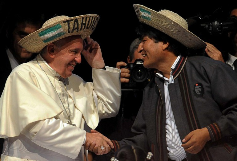 Image result for papa francisco evo morales