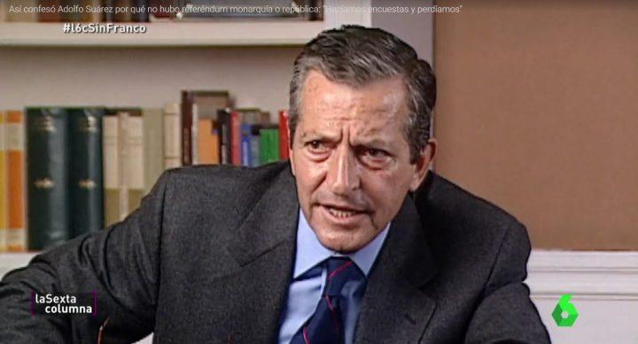 Adolfo Suárez durante su entrevista con Victoria Prego en 1995.