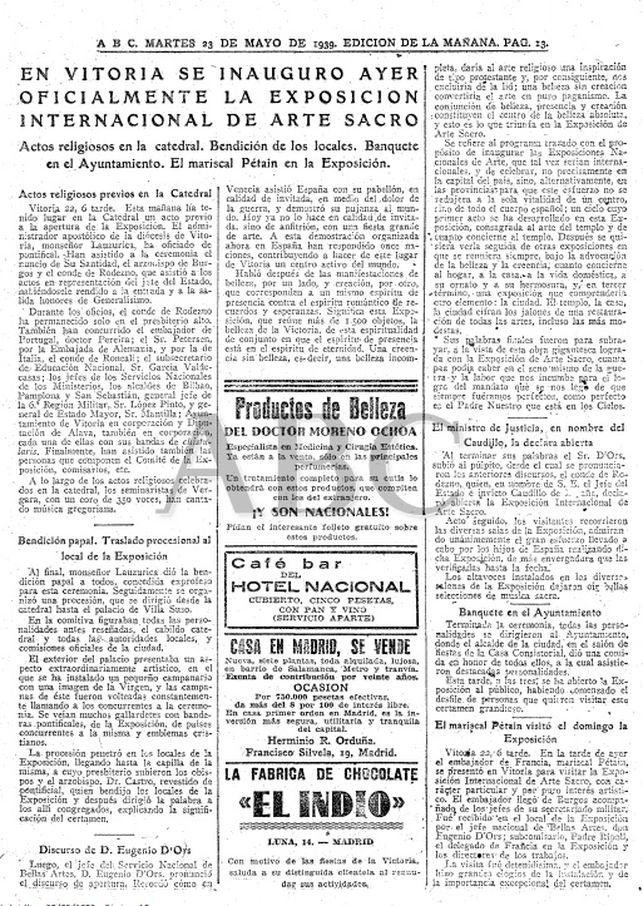 Ejemplar del diario 'ABC' en 1939
