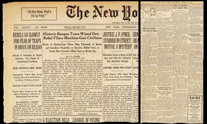 Resultado de imagen de bombardeo de guernica prensa