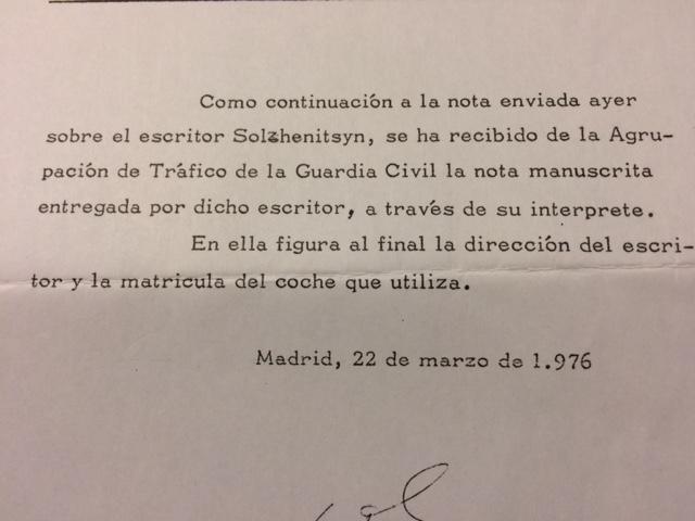 Documentos sobre la visita de Solzhenitsyn a España en marzo de 1976