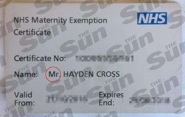 NHS tarjeta de Hayden lo reconoce como masculina