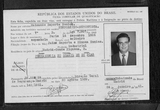 Visado de entrada en Brasil (1961) con los datos oficiales españoles de Raimundo Saporta.