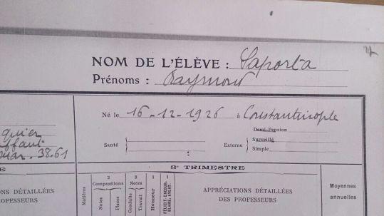Expediente del alumno Raymond Saporta, Lycée Carnot. Curso 1938-1939.
