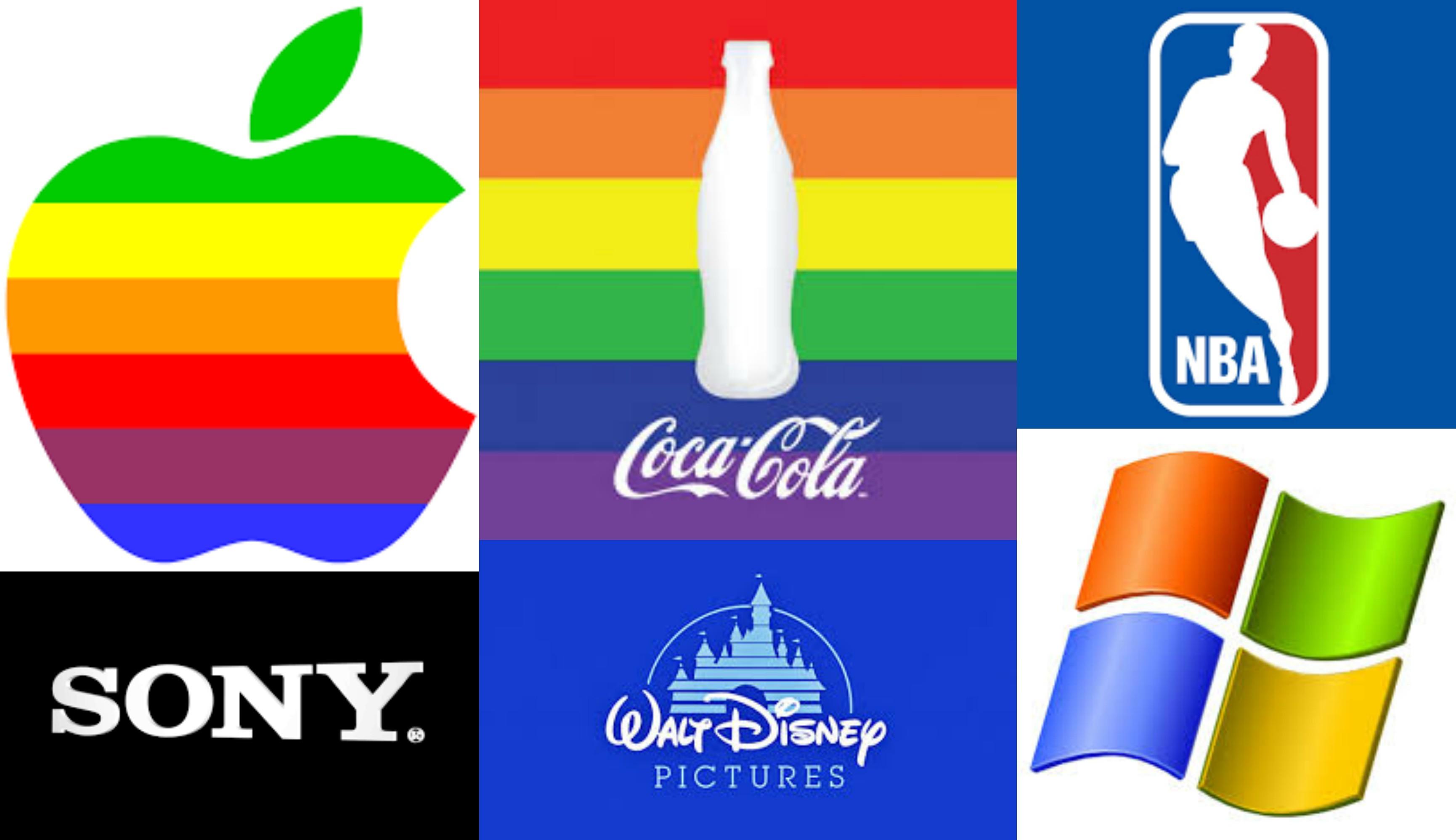Logos de empresas que critican leyes de libertad religiosa alegando que van contra los derechos LGTB pero hacen negocios en países que los violan /Actuall