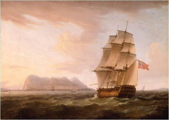 A British Man of War before the Rock of Gibraltar obra de Thomas Whitcombe
