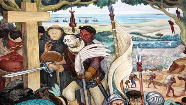 La llegada de Hernán Cortés a Veracruz, por Diego Rivera. El conquistador aparece sifilítico y demacrado