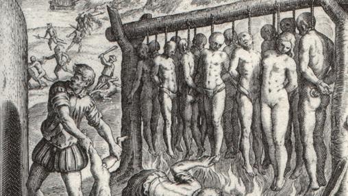 Grabado del holandés Theodor de Bry (1528–1598) mostrando la supuesta quema de indígenas en América