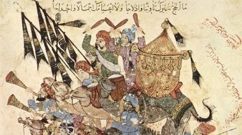Guerreros musulmanes representados en el manuscrito musulmán de la Maqamat Al-Hariri