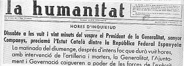 Resultado de imagen de La Humanitat Catalunya 04 octubre 1934