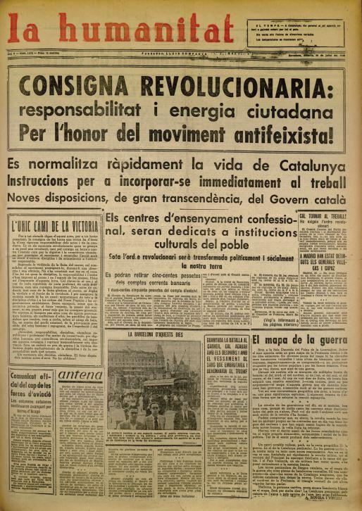 Resultado de imagen de La Humanitat 22 noviembre 1933