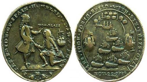 Medalla conmemorativa de Vernon sobre la mentira de la entrega de espada de Blas de Lezo arrodillado