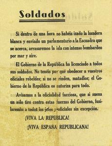 Proclama lanzada por aviones republicanos sobre Ibiza, durante la Guerra Civil Española. Cortesía de Matilde Boned.