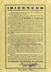 Proclama del comandante Julio Maestro del día 31 de julio de 1936, al comienzo de la Guerra Civil Española. Cortesía de Matilde Boned.