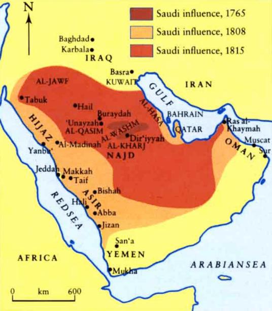 Mapa donde se muestra la expansión del clan Saud
