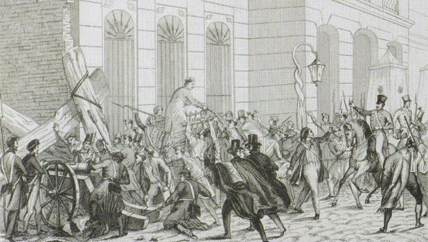 Grabado de una de las «bullangues» que asolaron Barcelona durante el siglo XIX
