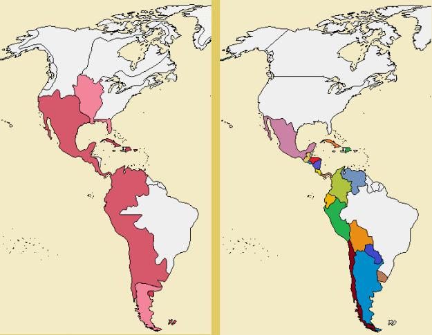 De la fuerza de la unidad a la debilidad de la fragmentación: Hispanoamérica en 1800 (izquierda) y en la actualidad. 200 años de pérdidas territoriales y balcanización sin fin: este es el producto del imperialismo anglosajón.