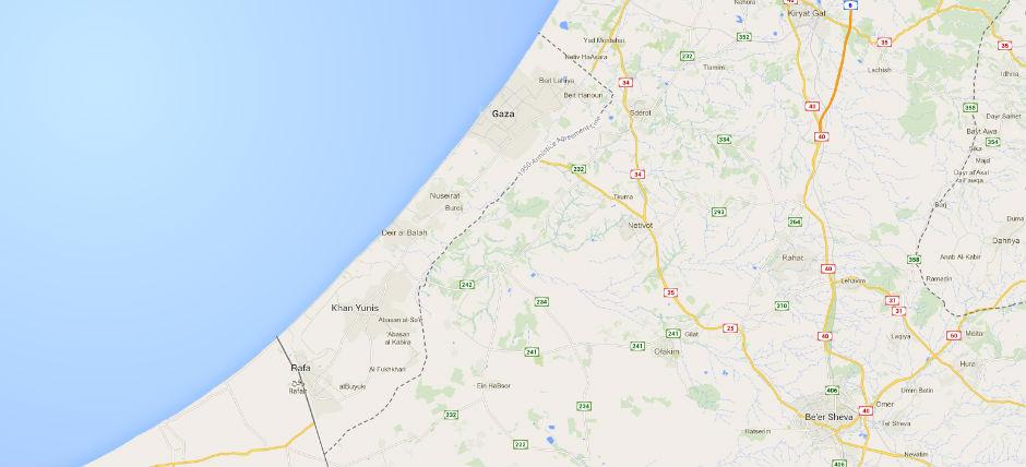 Mapa de Gaza.