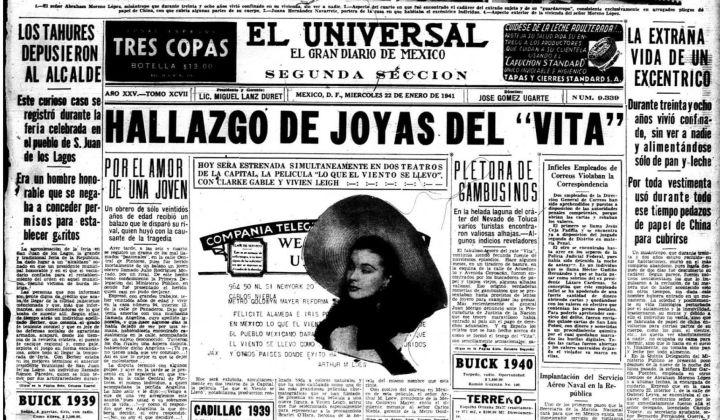 Portada del diario El Universal en enero de 1941.