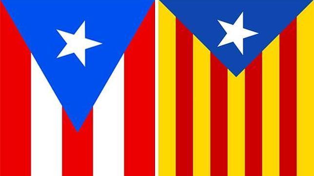 A la izquierda, la bandera de Puerto Rico; a la derecha «la estelada»