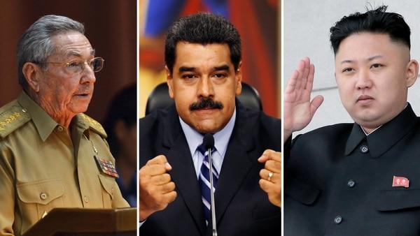 Los dictadores de Cuba, Raúl Castro; de Venezuela, Nicolás Maduro; y de Corea del Norte, Kim Jong-un