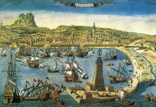 Puerto de Barcelona, grabado francés del siglo XVIII.