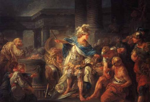 Alejandro, cortando el Nudo Gordiano.