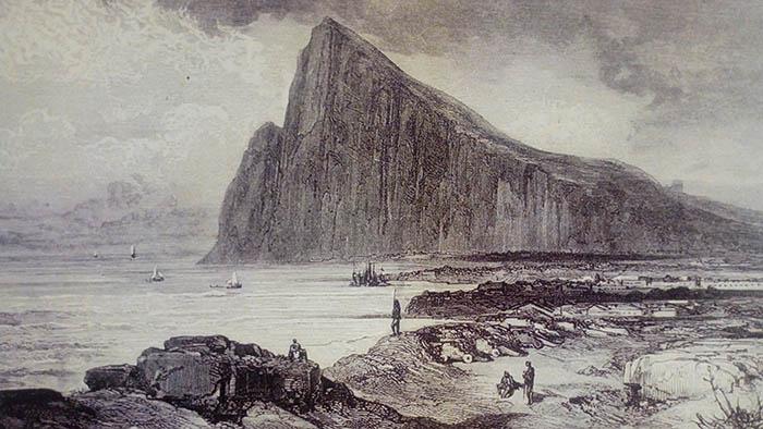 Vista de Gibraltar dibujada por Gustavo Doré y grabada por Laplante en 1876. Universidad de Sevilla