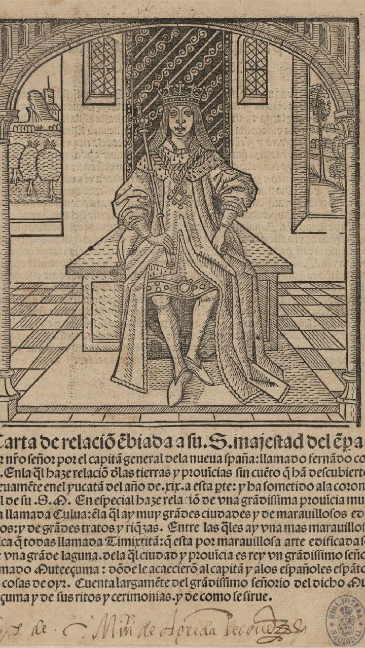 Segunda Carta de Relación de Hernán Cortés (1522), impresa en Sevilla.