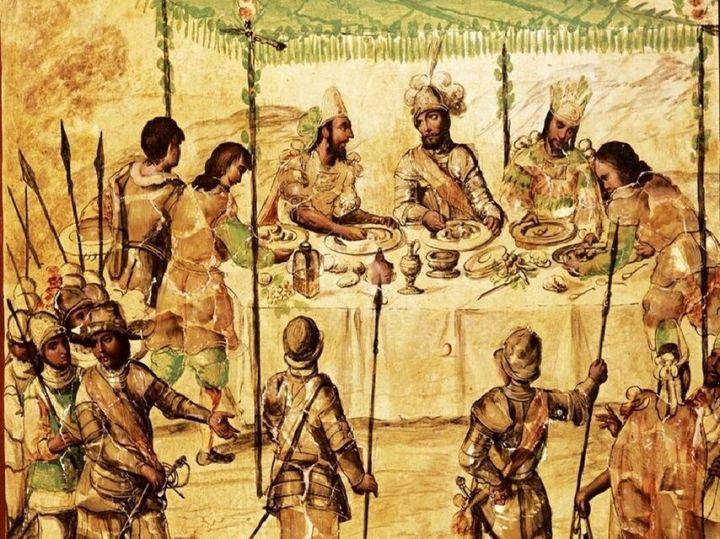 Cortés comiendo con los embajadores de Moctezuma. Pintura de Juan y Miguel González de 1698. Museo de América, Madrid.
