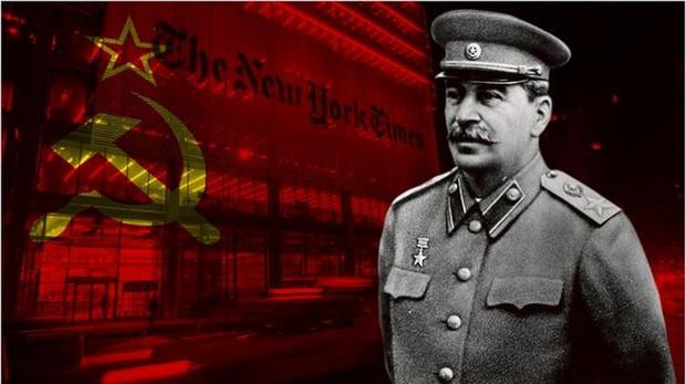 Montaje de Stalín con la sede de «The New York Times»