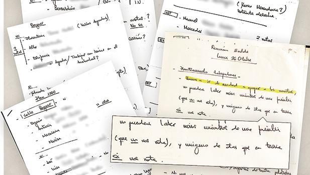 Los manuscritos del «Plan 1.000» para conseguir mil votos con empleos municipales puerta a puerta